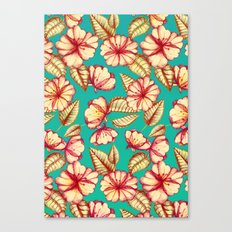 Retro style Rust & Teal Hand drawn Floral Pattern Canvas Print