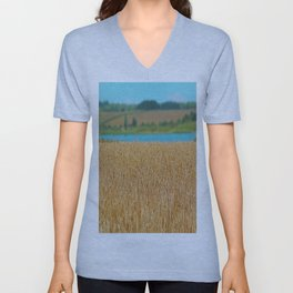 Golden Corn by the Turquoise Water Unisex V-Neck