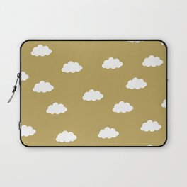 White clouds in green yellow background Laptop Sleeve