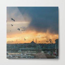 Birds at Sunset | Istanbul Turkey Cityscape Night Skyline Beautiful Yellow and Orange Firey Sky Metal Print