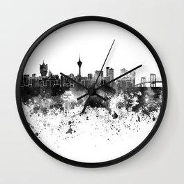 Macau skyline in black watercolor Wall Clock