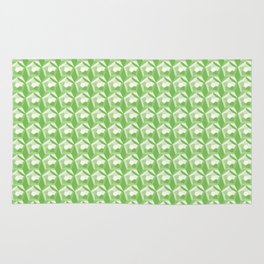 3D Optical Illusion: Green Dodecahedron Pattern Rug