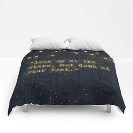 Look up at the stars, not down at your feet - gold glitter effect Typography Comforters