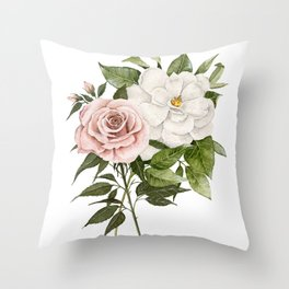 Pink Rose and Magnolia Throw Pillow