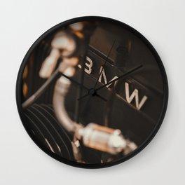 Old motorbike logo, vintage motocycles, bokeh effect, garage, man cave, german motorcycle, man gift Wall Clock