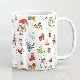 Christmas Pattern with cute owls, candy, deer, mistletoe, angel and Christmas tree. Coffee Mug