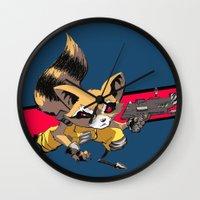 rocket raccoon Wall Clocks featuring ROCKET RACCOON by Walko