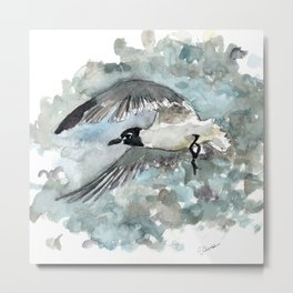 Seagull in Stormy Weather Metal Print