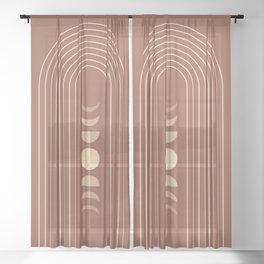 Mid Century Modern Geometric 10 (Moon phases) Sheer Curtain