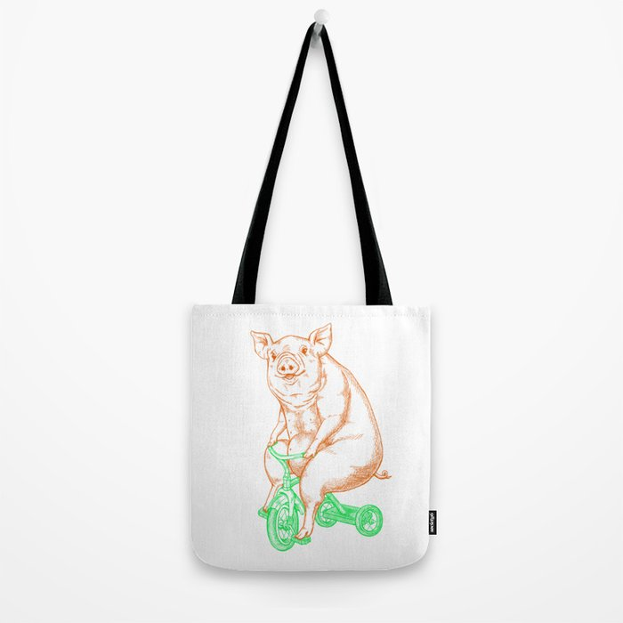 Piggy on a Tricycle Tote Bag
