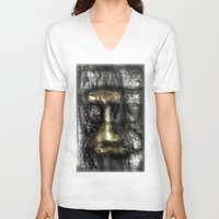 camus V-neck T-shirts featuring Camus by John Hansen