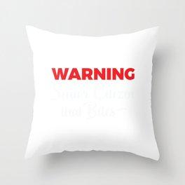 Senior Citizen T-Shirt Gift Warning Throw Pillow