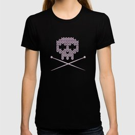 Knitted Skull (Black on Pink) T-shirt