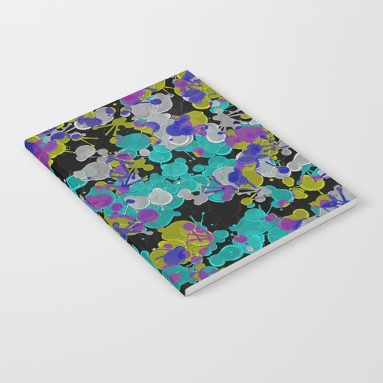 Dark Splatter - Abstract, paint splatter pattern in black, cyan, yellow, white and green Notebook