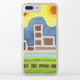 Surreal Simplified Cityscape Clear iPhone Case
