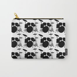 Drumset Pattern (Black on White) Carry-All Pouch