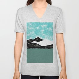 Artistic teal black white olive green watercolor mountain Unisex V-Neck