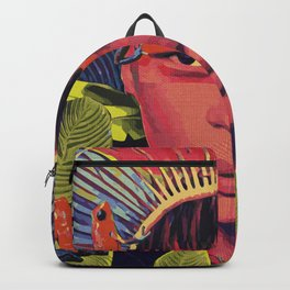 Amazonas woman with strawberry poison frog Backpack