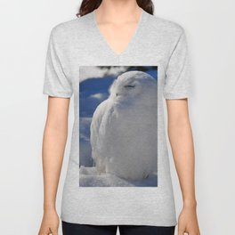 Snowy in the Snow by Teresa Thompson Unisex V-Neck