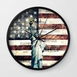 Vintage Patriotic American Liberty Wall Clock