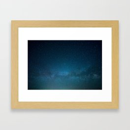 Navy Blue Star Galaxy Framed Art Print