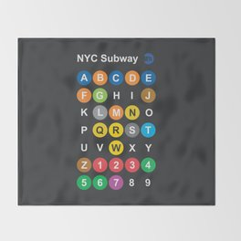 New York City subway alphabet map, NYC, lettering illustration, dark version, usa typography Throw Blanket