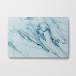 Streaked Teal Blue White Marble Metal Print