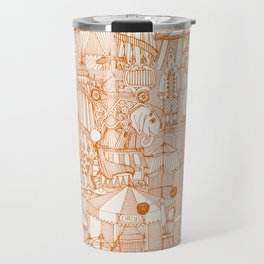 retro circus orange ivory Travel Mug