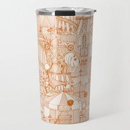 retro circus orange ivory Travel Mug