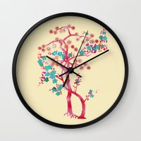 asian Wall Clocks featuring Asian Tree by Mimi Matloob Designs