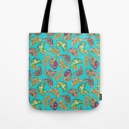 """""""Oro?"""" Cactus with Flower Teal Tote Bag"""