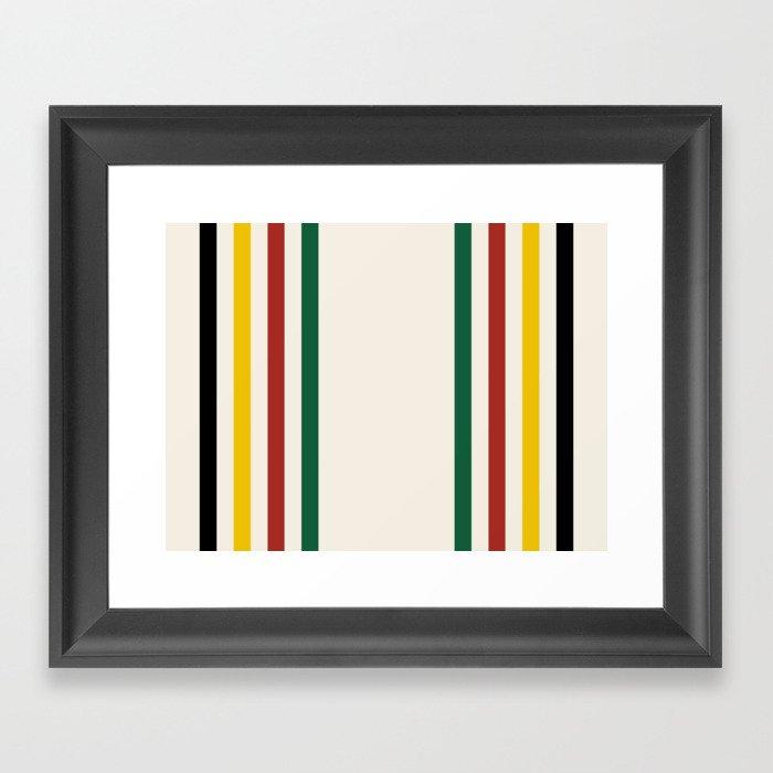 Rustic Lodge Stripes Black Yellow Red Green Gerahmter Kunstdruck