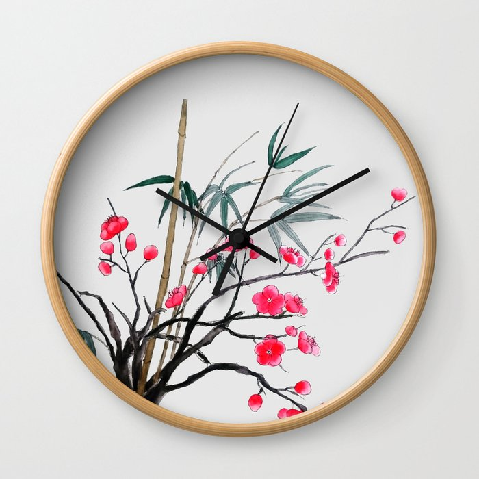bamboo and red plum flowers Wall Clock