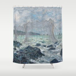 Fishing Nets at Pourville by Claude Monet Shower Curtain