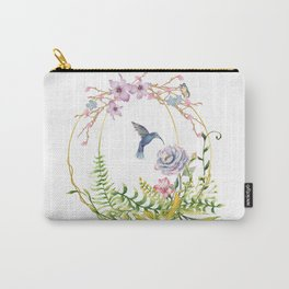Glittering Golden Floral Hummingbird Terrarium Carry-All Pouch
