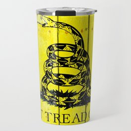 Gadsden Flag On Old Wood Planks - Don't Tread on Me Travel Mug
