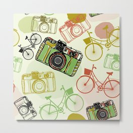 Vintage film camera and bicycles, seamless pattern pastel colors Metal Print