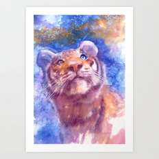 Waiting for the stars (tiger, big cat, cat, kitty, kitten, gato, chat) Art Print