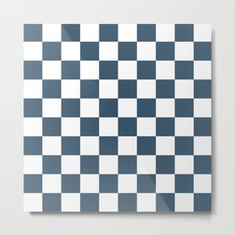 Dusky Blue Checkers Pattern Metal Print