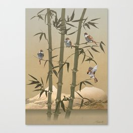 Sparrows And Bamboo Canvas Print
