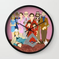 the royal tenenbaums Wall Clocks featuring Royal Tenenbaums Family Portrait  by AnaMF