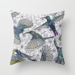 hum sun honey birds basalt Throw Pillow