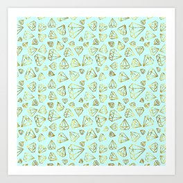Rough Diamonds Faux Gold Mint Art Print