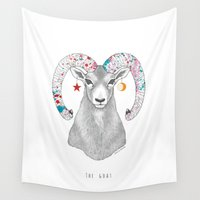 goat Wall Tapestries featuring goat by talltree