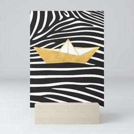 GOLD PAPER BOAT GEOMETRY Mini Art Print