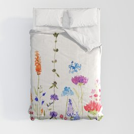 colorful wild flowers watercolor painting Comforters