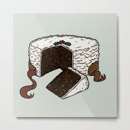 X is for Xmas Cake Metal Print
