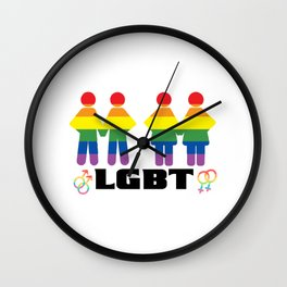 Lgbt together rainbow Wall Clock
