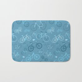 I love bikes in teal Bath Mat