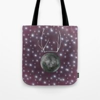 dark side of the moon Tote Bags featuring Dark Side of the Moon by Helle Gade